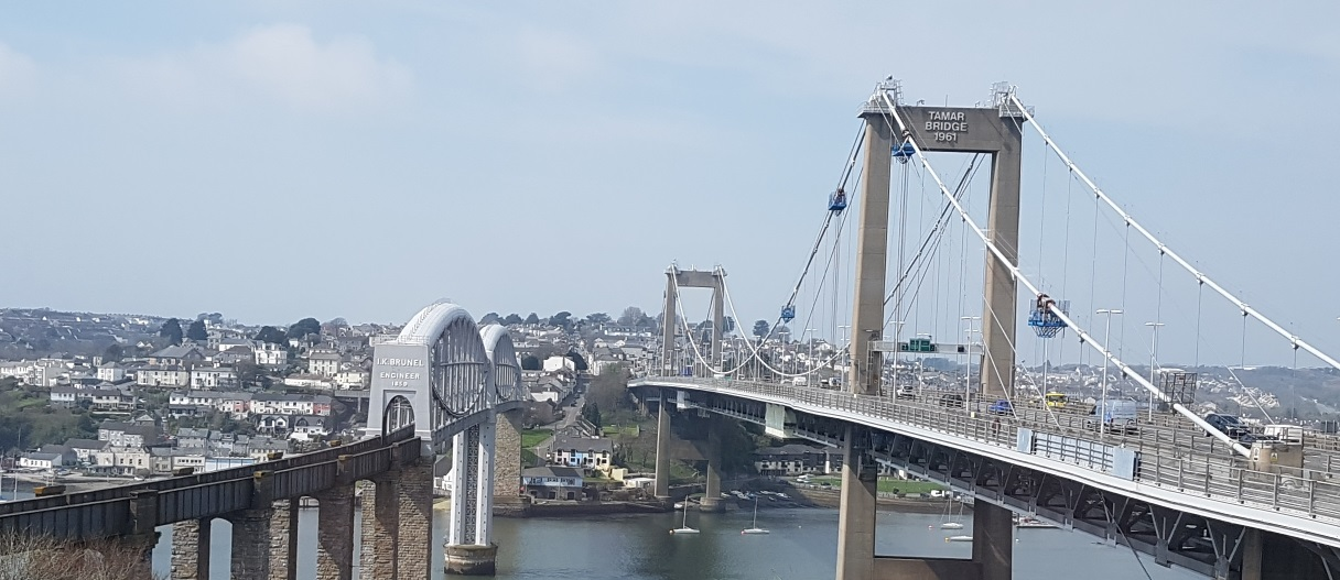 View of the two bridges and Saltash.
